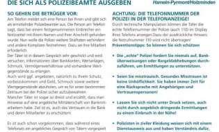 """POL-HM: Erneute Anrufe durch """"falsche Polizeibeamte"""" im Weserbergland - Seniorinnen in Hameln und Hess. Oldendorf reagieren richtig - die Polizei wiederholt ihre Hinweise"""